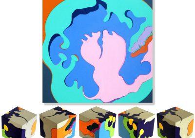 KelyneReis_W.Y.E.S_Squre-Eyes_IrisPortrait_Composition_acryl auf Leinwand-60x60cm-und Holz Wuerfel-10x10cm.
